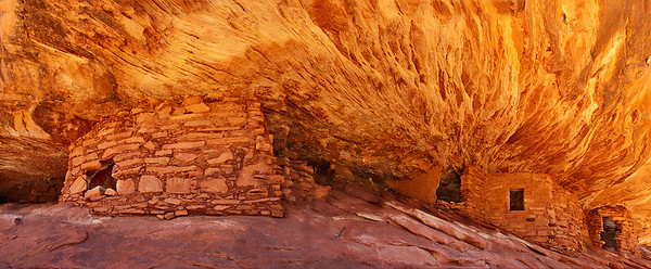Panoramic view of the House on Fire ruin, Mule Canyon south fork, on Cedar Mesa in the Bear's Ears National Monument.