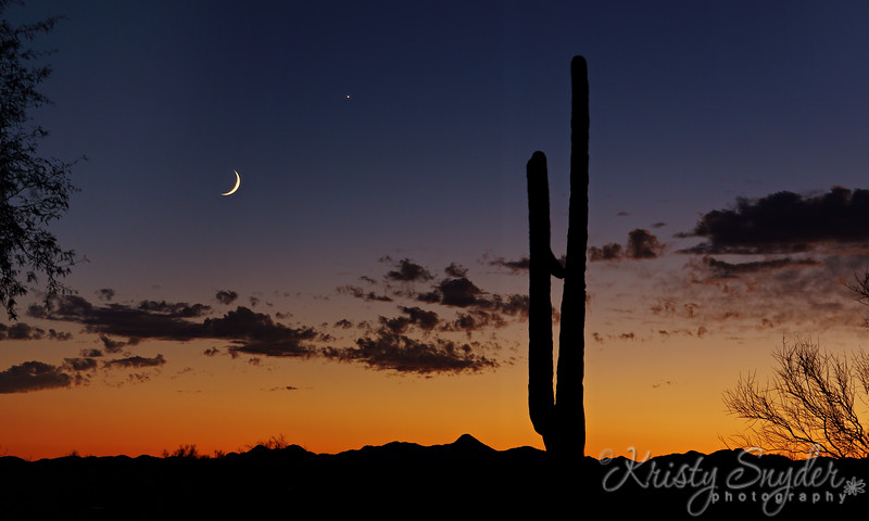Sunset,  Crescent Moon and Venus