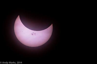 4:25pm MST, solar eclipse w solar flares