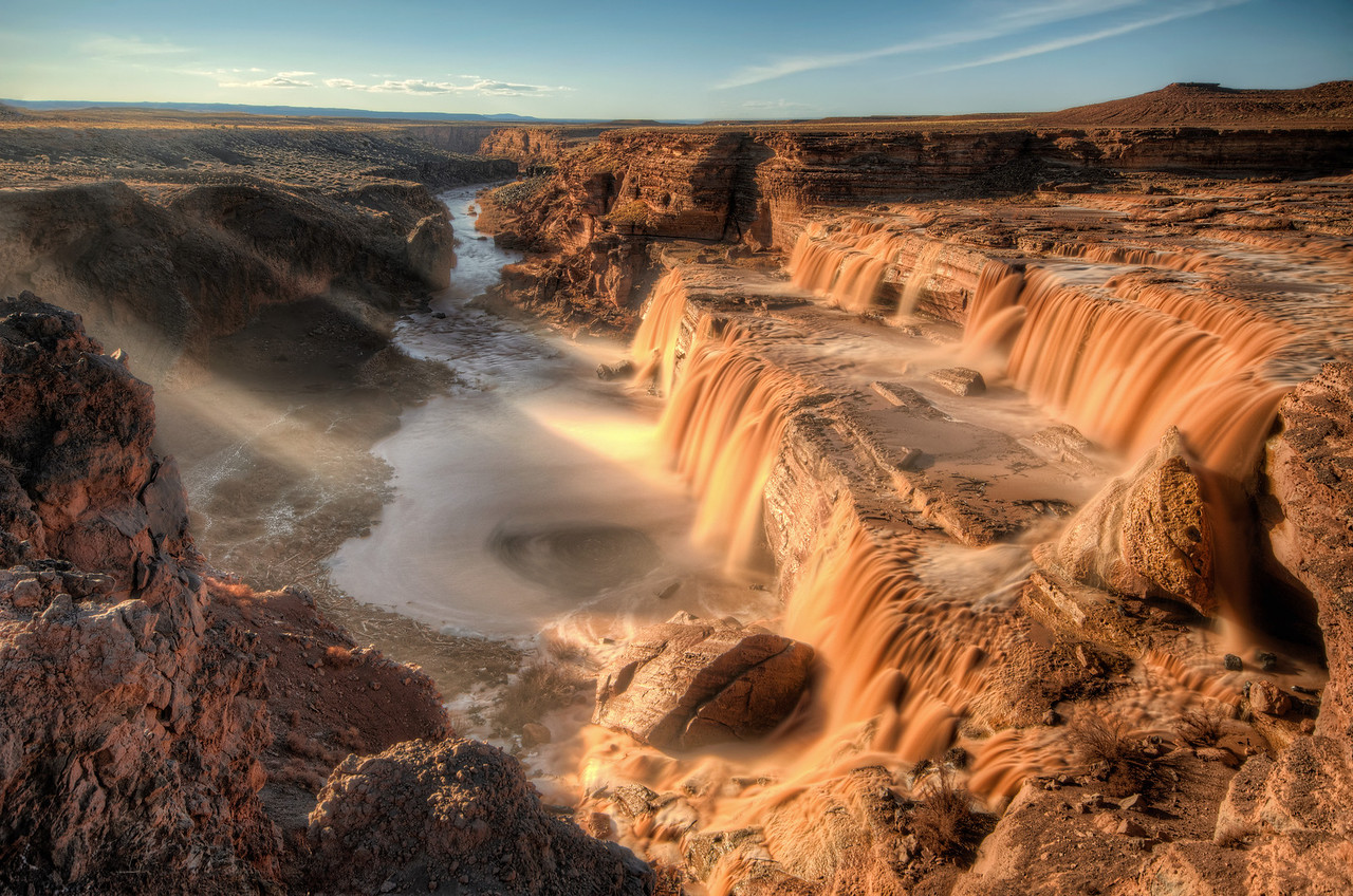 Desert Waterfall at Sunset on Little Colorado River in Northern Arizona