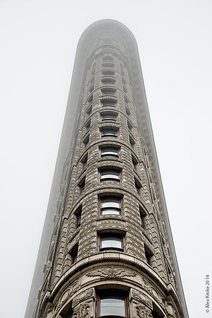 The Flatiron Building in the fog