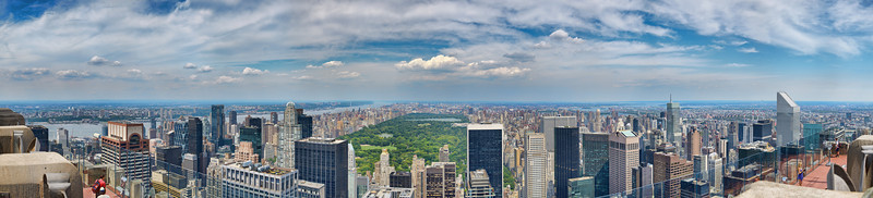 Facing north from the Top of the Rock Observation Deck at Rockefeller Center, which provides a view of Central Park and other New York City landmarks.  The panoramic image was created by merging and blending two (2) rows of seventeen (17) pictures, each bracketed for three (3) exposures -- a total of 102 source files.  The resulting panorama is over 250 megapixels; the level of detail is absolutely stunning.