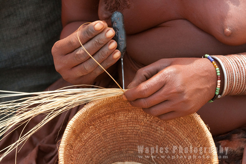 Making a basket from grass