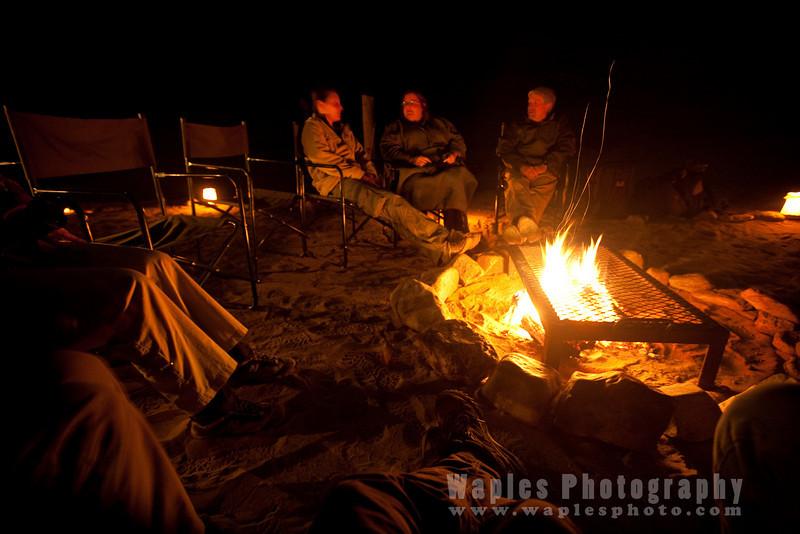 Campfire at back at Skeleton Coast Camp
