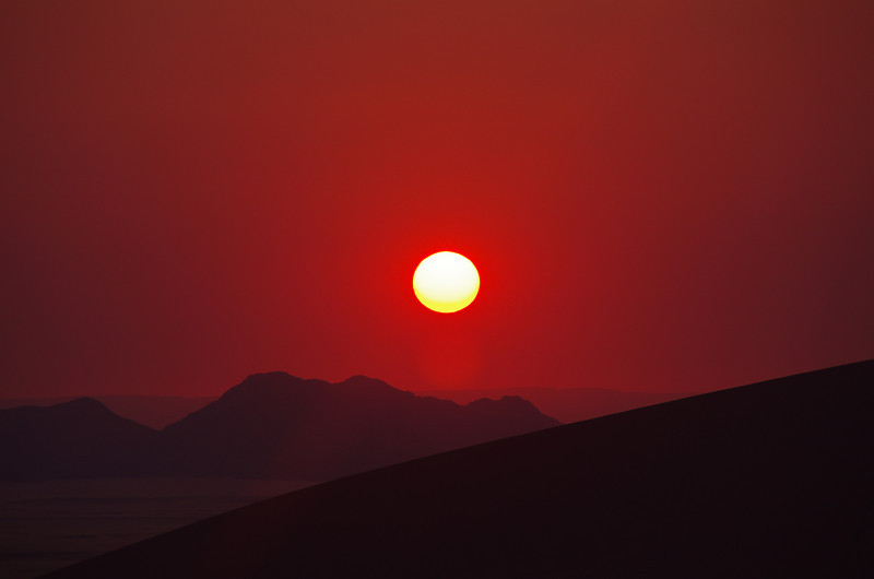 African sunrise at is best in the Namib Desert