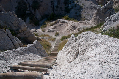 Log ladder on the Notch Trail in Badlands National Park