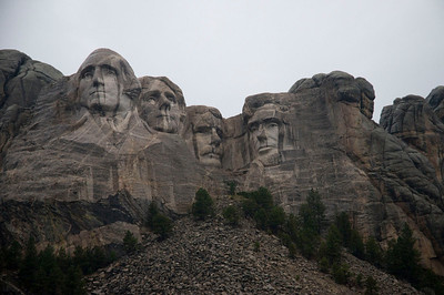 Mount Rushmore on a rainy day