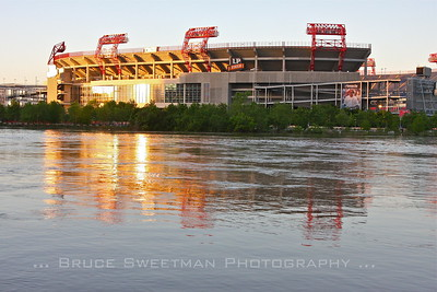 Looking across the Cumberland towards LP Field - home of the Tennessee Titans.