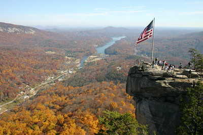 Chimney Rock  with Lake Lure in the background.