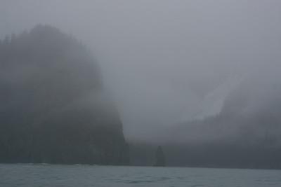 Clouds and rain cover the coast, Kenai Fjords NP