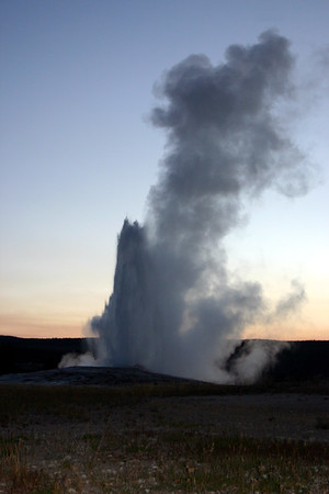 Old Faithful in her full glory at dusk