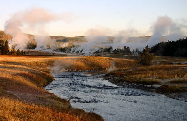 Firehole River bathed in early morning light, Upper Geyser Basin, Yellowstone NP