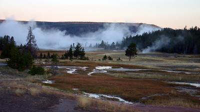 Upper Geyser Basin before sunrise, Yellowstone NP