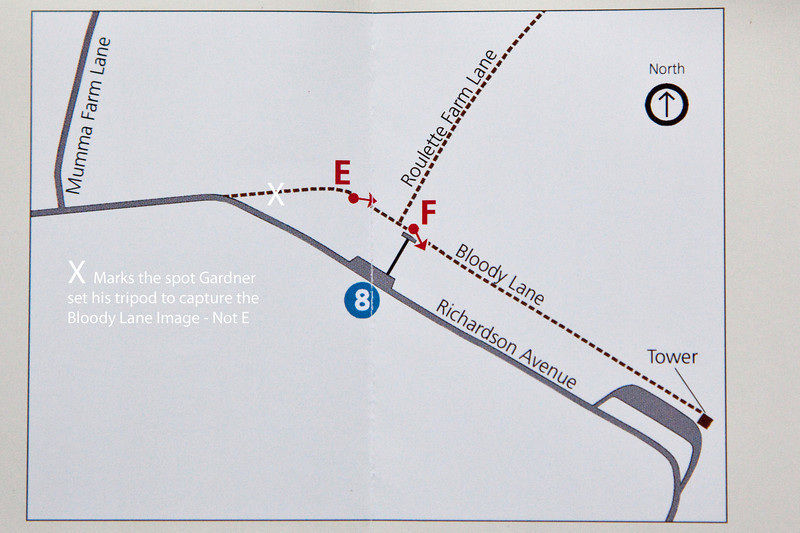 The X is at the top of the hill which is about half way between the E shown here and the curve in Richardson Ave .  Map courtesy of NPS.