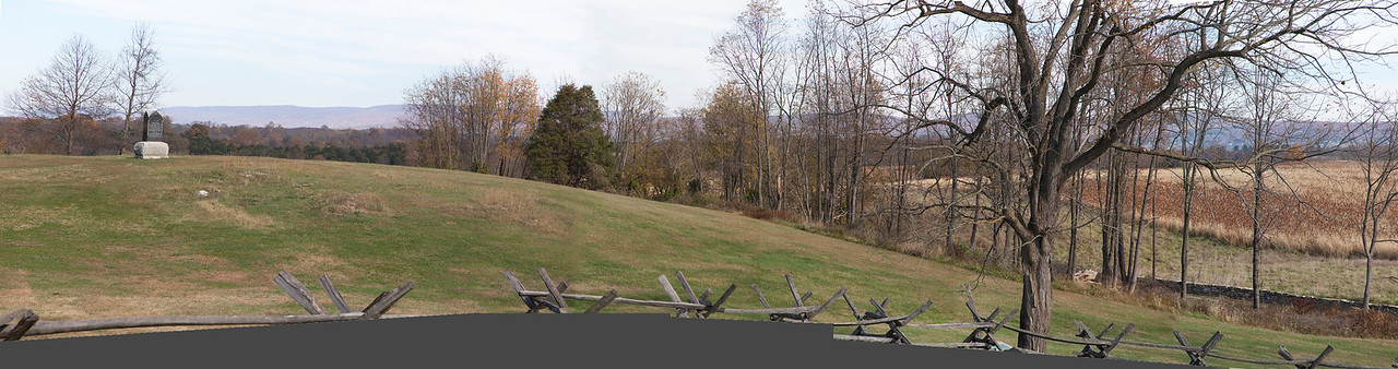 Panorama of the Hillside just north of Bloody Lane Antietam.  Used to show the mountains in the background.  Doesn't look at all like Gardner's image.