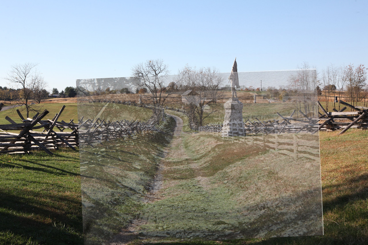 Overlay of the previous image from 1880 onto my image from October 25, 2009.   Today's lane is a little wider.   The fence on each side has been moved further out.  A split rail fence rather than vertical fence with horizontal rails was added on the right (monument was added too) but the most important change is that there was a building located on the north side of the curve where the Lane inclines on the west end.  This structure is known as the Ward House. It was purchased and removed by the National Park Service many years ago.   Going back to the previous image for better detail...... notice that this building looks like it was a two story structure that had to have a foundation.  In other words, when it was built and then removed  there had to be some significant ground landscaping movement of earth.