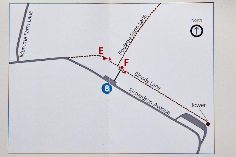 "Here is a map of Bloody Lane courtesy of National Parks Service, ""Photography at Antietam - A Battlefield Tour"".   The left side of the lane is exactly 82 degrees while the right side is about 115 degrees. You can even put a protractor on this chart to confirm it.  Therefore the point ""E"" which supposedly indicates where Gardner stood in this publication is incorrect.  Gardner's images must have been taken somewhere between what today is the curve in the road at Richardson's Avenue and the curve in bloody Lane."