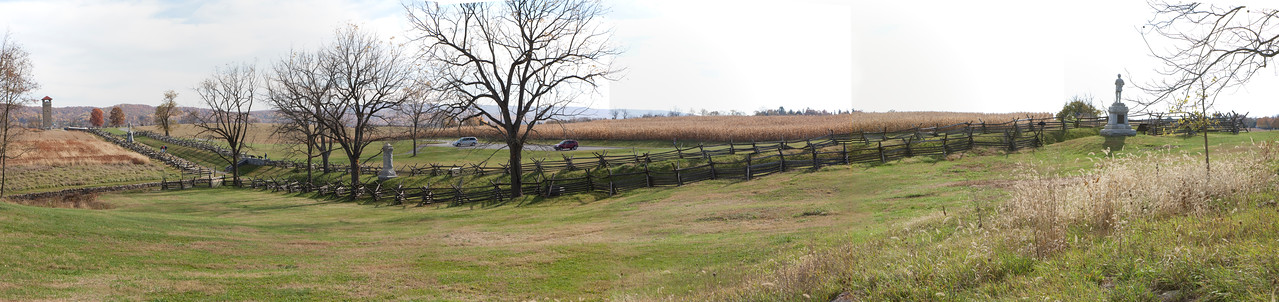 Panorama of the area where trench graves were dug.  Looking South.