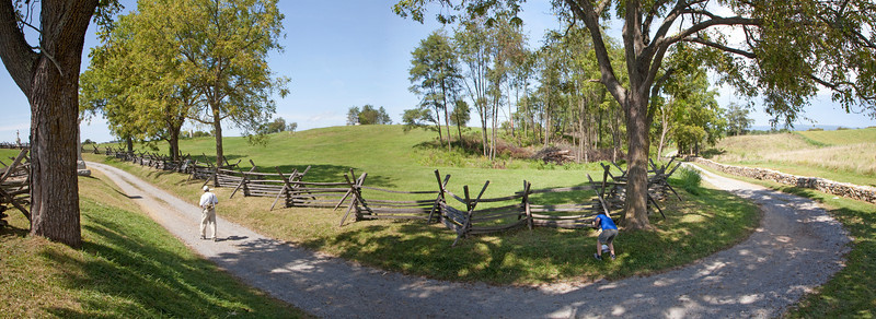 Bloody Lane or Sunken Road at Antietam looking west from Roullete Lane. August 25, 2009.  Note the process of stitching this pano distorted the direction of Roulette Lane.  It runs perpendicular to the Sunken road.  If time permits I will restitch .