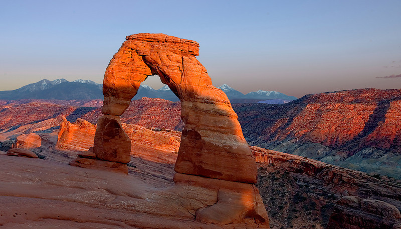 Delicate Arch in Arches National Park at sunset.
