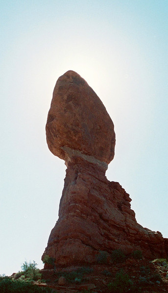 Balancing Rock hiding the sun.
