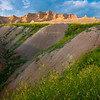 Converging Gully Leading Into Badland Peaks - Badlands National Park, South Dakota