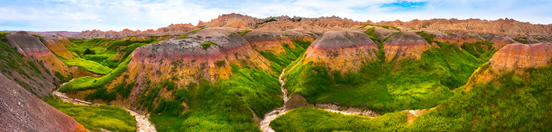Pano Of Rainbow Valley - Badlands National Park, South Dakota