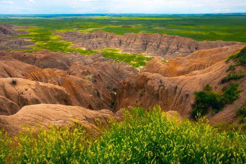 Looking Deep Into The Canyon Valley - Badlands National Park, South Dakota