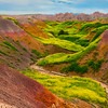 Inside The Curvy Yellow Valley - Badlands National Park, South Dakota