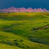 Badlands Spotlight In Dark Skies - Badlands National Park, South Dakota