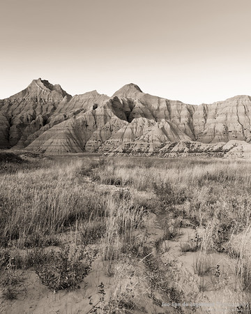 Badlands rivers in sepia