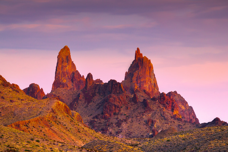 Mule Ears During Twilight - Big Bend National Park, Texas