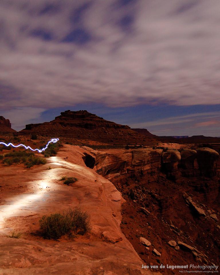 Lighttrail and Moonlight