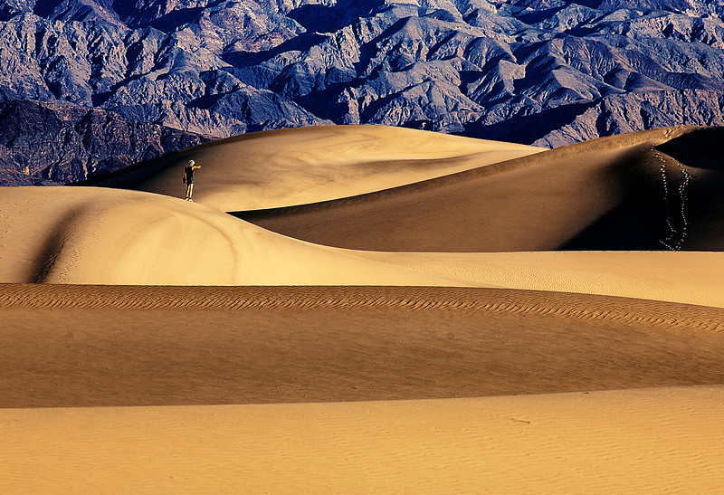 Girl photographs the sand dunes Death Valley National Park. Third Place May 6th 2013 Camera Rochester Large Color Print competition.