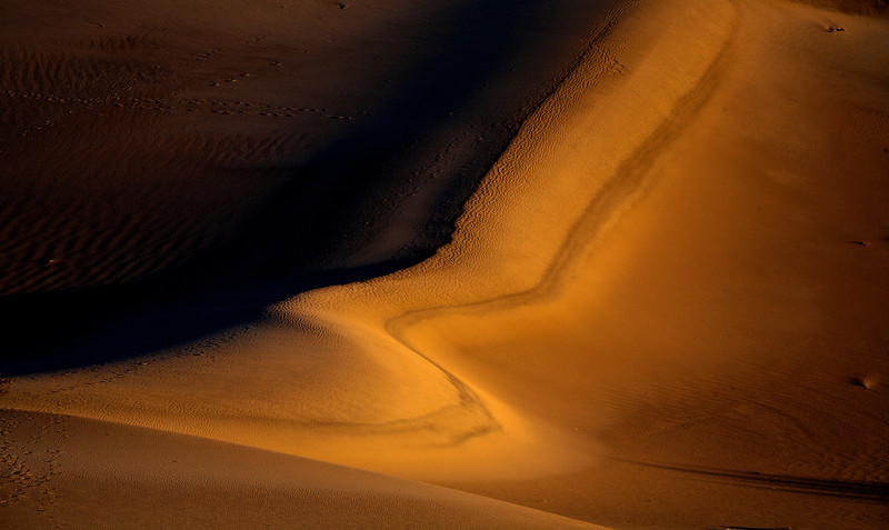 Sand Dunes; wind swept on the right but not on the left. Death Valley National Park