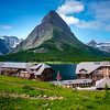 Many Glacier Lodge In The Morning - Swiftcurrent Lake, Many Glacier, Glacier National Park, Montana