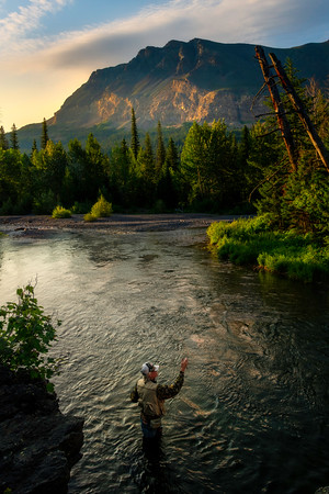 Fisherman Early In The Morning Along The Falls - Running Eagle Falls, Two Medicine Area,  Glacier National Park, Montana
