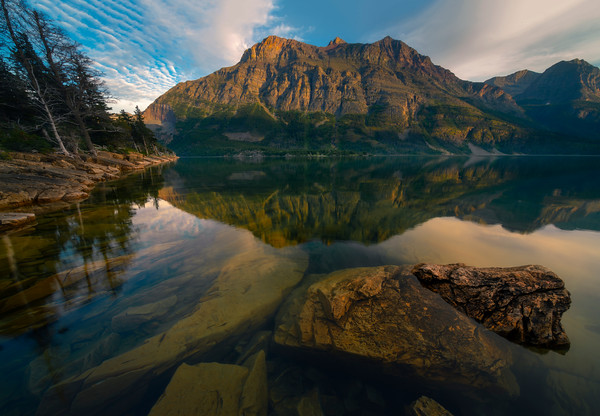 Mirror Reflections On St Marys Lake - Wild Goose Island Lookout, Saint Mary's Lake, Glacier National Park, Montana