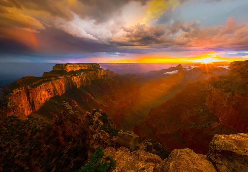 Sunset Streaks At End Of Storm - North Rim, Grand Canyon Nat Park, Arizona