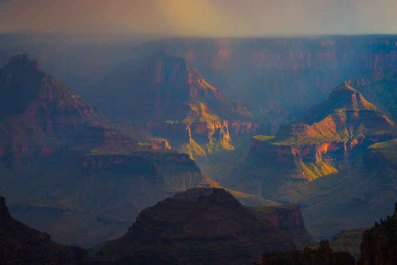 Sun Breaking Through The Monsoon - North Rim, Grand Canyon Nat Park, Arizona
