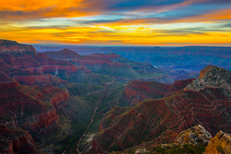 Valley Of The Grand Canyon At Sunrise - North Rim, Grand Canyon Nat Park, Arizona