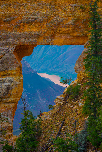 Hole In Rock Wall Showing Colorado River - North Rim, Grand Canyon Nat Park, Arizona
