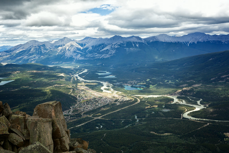Jasper townsite from the top of the Jasper Skytram at Whistlers Mountain.