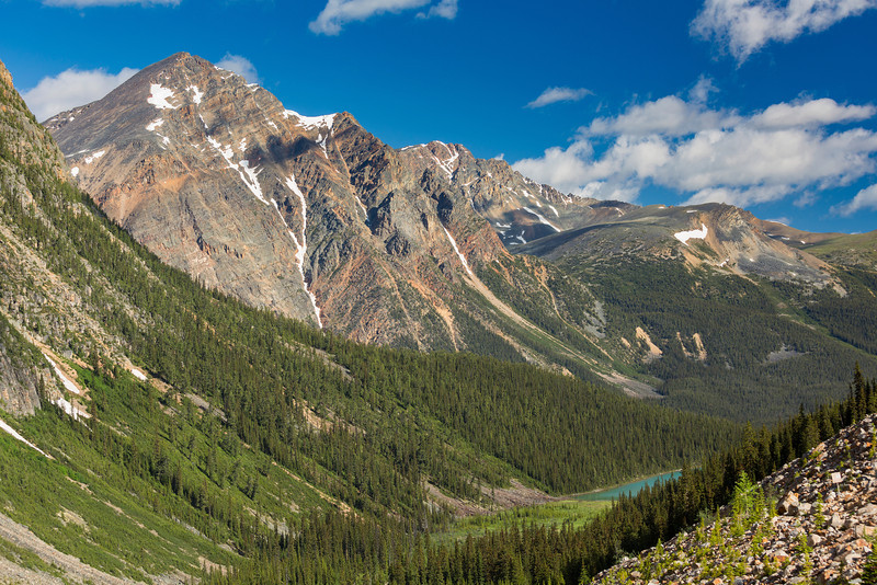 Looking down the valley towards Cavell Lake, Jasper National Park.