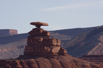 The town near by was named after this rock. Have you guessed it? Mexican Hat, AZ (near Monument Valley).