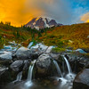 Mrytle Falls And Lenticular Clouds Sunset