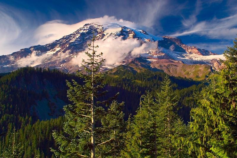 Clouds decorate Mount Rainier