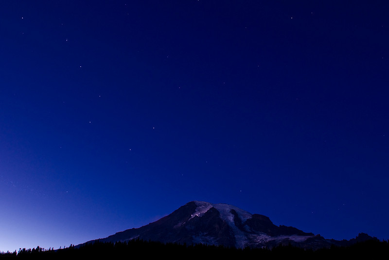 Night shot of Mt. Rainier and the Big Dipper from Reflection Lake shorty after the end of twilight.