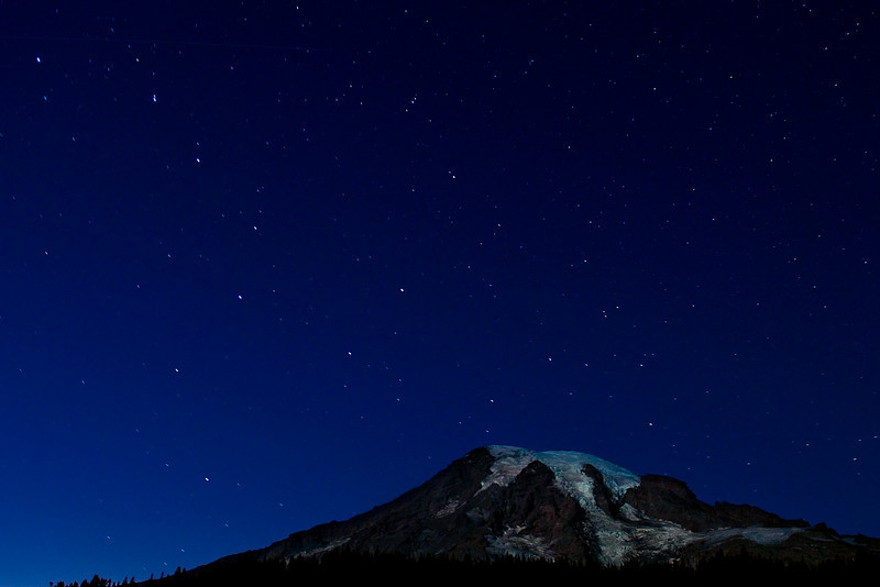 Night shot of Mt. Rainier and the Big Dipper from Reflection Lake