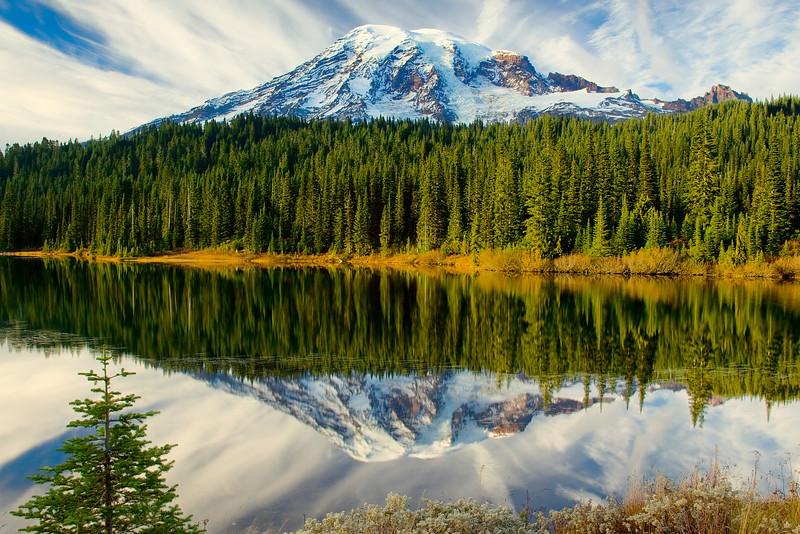 Mount Rainier reflected in Reflection Lake